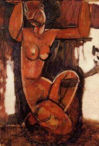 "Opera: Cariatide, o ""Mademoiselle Grain Café"", 1911-1912; Düsseldorf, Kunstsammlung Nordrhein-Westfalen."